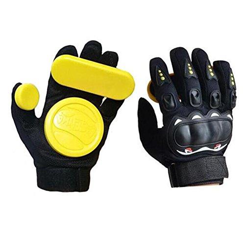 Seroda Longboard Downhill Slide Handschuhe Skate Handschuhe mit austauschbare drei Slider (Yellow) (Longboard Skateboard Slide Handschuhe)