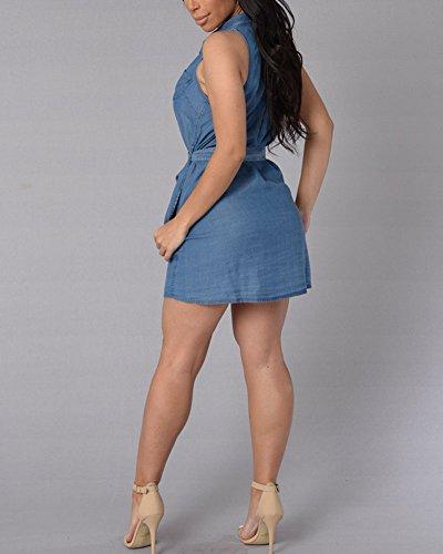 Femme Sans Manches Revers Casual Denim Robe boîtes de nuit Robe Bleu foncé
