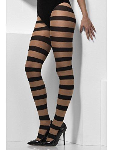 Damen Strumpfhose Hexe gestreift Haut-schwarz Halloween