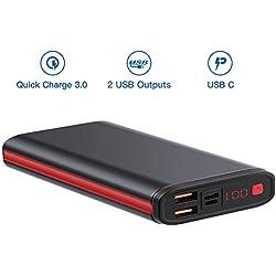 SmilePowo Batterie Externe 20000mAh USB C PD Charge Rapide 18W QC 3.0, Power Bank 2 Ports USB Chargeur Portable Compatible avec iPhone X 8 Plus 7 6, Samsung Galaxy S9 Note 9 S8, Macbook