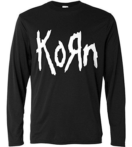T-shirt a manica lunga Uomo - Korn - white print - Long Sleeve 100% cotone LaMAGLIERIA, XL, Nero