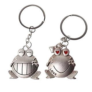 AUFODARA 1 Paar Glücklich Frosch Partneranhänger Metall Schlüsselanhänger Set für Verliebte (K-D#)