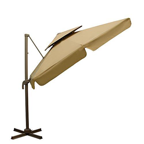 AMANKA XXL Ampelschirm 250x250cm rechteckig Aluminium-Gestell inkl. Plattenständer mit Fußpedal 360° Grad drehbarer Sonnenschirm Garten-Schirm mit doppelter Kappe