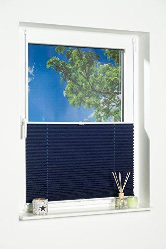 K-home Klemmfix-Plissee Palma Blau 70 x 130 cm (B x L) Lichtschutz +++ Moderne Crushed Optik +++ - 3
