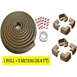 LifeKrafts 5 Meters Thick Rubber Edge Cushion + 8 Corner Cushions|Colour - Antique Brown| Table Edges Guard for Baby , toddler , Child Safety | Edge Protector | Table Corner Cushions | Baby Proofing | Child Safety Furniture Bumper