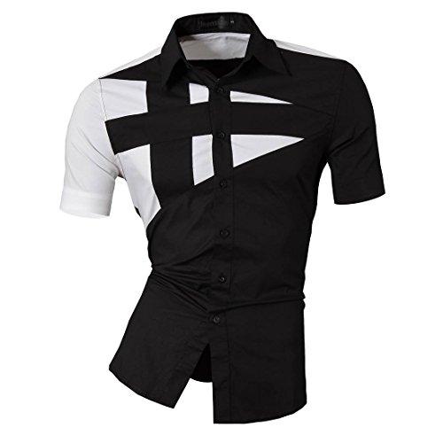 jeansian Herren Freizeit Hemden Shirt Tops Mode Kurzarm-shirts Slim Fit Z002 Black