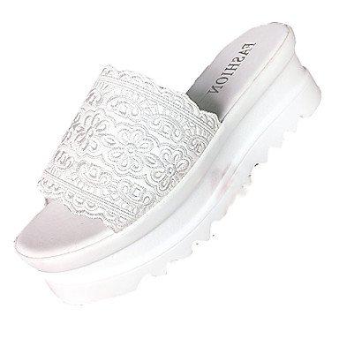 zhENfu Damen Sandalen Komfort PU Sommer Outdoor Casual Walking Slouch stiefel Absatz Weiß Schwarz Rot Pink 1 in 1 3/4
