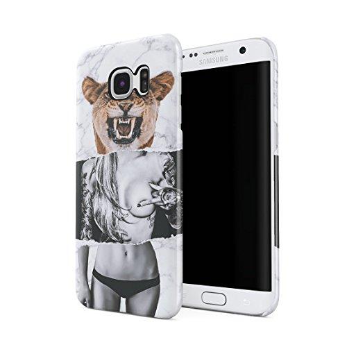 Wild Lion Inked Naked Tattoo Girl Dünne Rückschale aus Hartplastik für Samsung Galaxy S6 Edge Handy Hülle Schutzhülle Slim Fit Case Cover -
