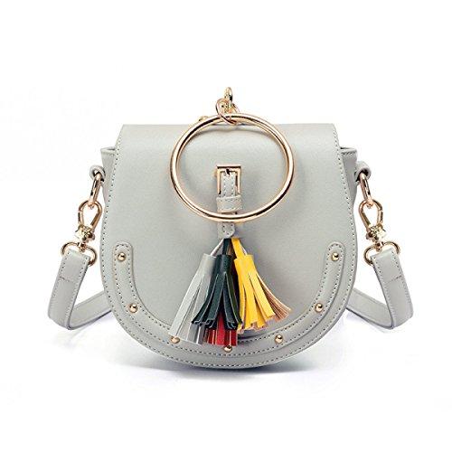 QPALZM Weibliche Tasche 2017 Circle Quaste Handtasche Niet Messenger Bag Schultertasche Mini Tasche Frau Grey