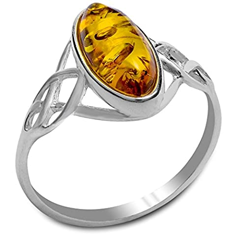 Amber Sterling Silver Celtic Thin Oval
