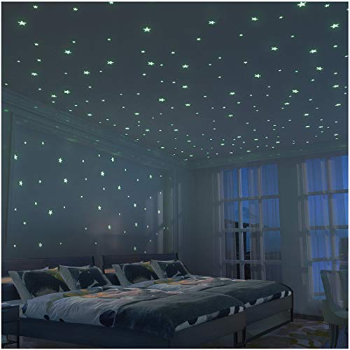 Fluorescenti 3d stelle adesivi da parete - 326 stelle adesivi kit xl (10.5cm) fluorescenti e brillanti al buio - per decorazioni cameretta bambini - diy decorazione della stanza per ragazzo ragazza bambino - parete arte - fantasia presente scatola