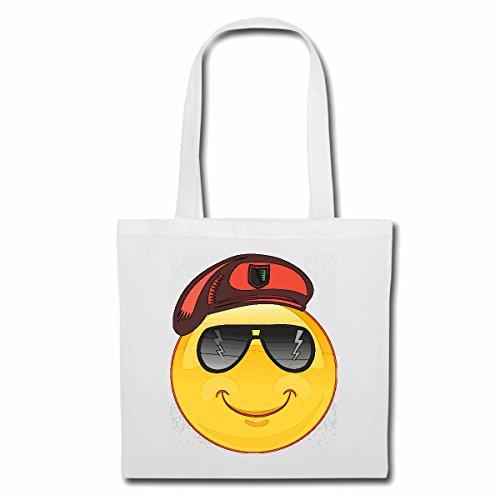 Tasche Umhängetasche Smiley ALS FELDWEBEL MIT Sonnenbrille Smileys Smilies Android iPhone Emoticons IOS GRINSE Gesicht Emoticon APP Einkaufstasche Schulbeutel Turnbeutel in Weiß