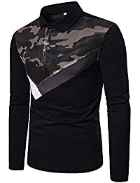 BUSIM Men's Long Sleeved Shirt Autumn Winter New Mesh Camouflage Stitching Lapel Casual Print Slim T-Shirt Top...
