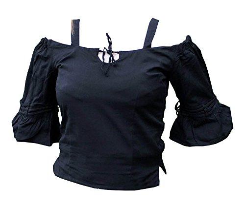 Mittelalterliche Bluse mit Trägern Damen LARP Kostüm Fasching Schwarz Größe S-3XL (3XL) (Zombie-werkzeuge-schwerter)
