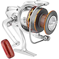 Tbest Carretes de Pesca de Lanzado, Rueda de Pesca Giratoria Carrete de Pesca Cabezal de Metal Serie DX Carrete de Plástico para Pesca de Agua Dulce y Salada(DX3000)