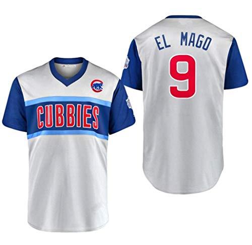 Komfortabel Jersey Baseball Trikot Major League Chicago Cubs 9# EL Mago Stickerei T Shirt Tops für Männer,Adult-XL