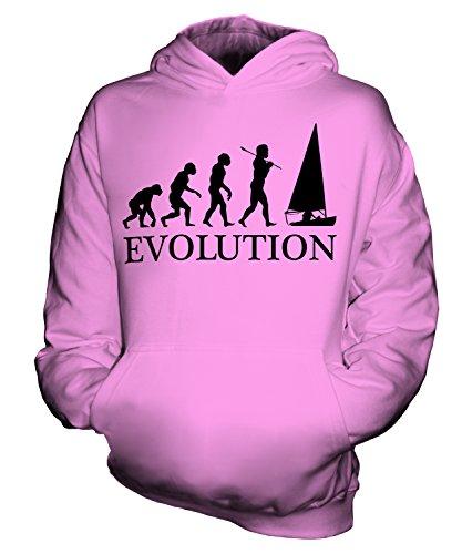CandyMix Regattasegeln Segeln Evolution Des Menschen Unisex Kinder Jungen/Mädchen Kapuzenpullover, Größe 12-13 Jahre, Farbe Rosa