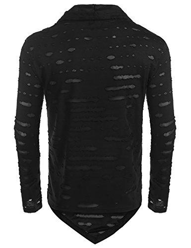 Coofandy Herren Langarmshirt Langarm T Shirt Sweatshirt Beiläufig Stehkragen Longsleeve Weiß Schwarz Schwarz