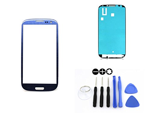 passend für SAMSUNG Galaxy S3 Blau Blue i9300 i9305/ Frontglas / Glas / Displayglas / LCD Reparatur / LCD Display / Klebefolie / Glass Replacement / 8 - Teiliges Werkzeugset TOOLS ()