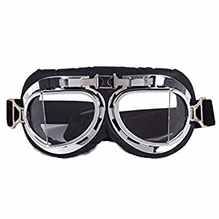 AFUT Steampunk Motorbike Goggles with Smoke Lenses Motorcycle Half Helmet Motorcycle Biker