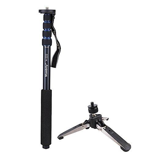 Aleación de aluminio portátil Andoer telescópico ajustable fotografía monopié monópode con soporte monopié Base Mini trípode para cámara réflex