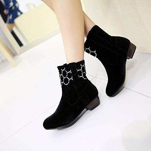 SONGYUNYAN Koreanische Version mit geringe tonnenförmige Strass Office Mode Damen Stiefel Black