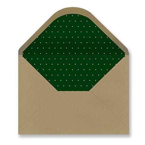 Sobres forrados invitaciones - KRAFT LISO PUNTO BLANCO 229x162 mm. (verde oscuro)