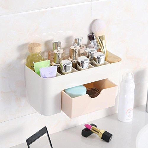 Prevently 2-Tier-Aufbewahrungsbox Wand-montiert kosmetische Aufbewahrungsbox Kosmetik-Etui Kosmetik-Box Kosmetikerin Box Storage Tools Pinsel Tasche Organizer (Colour B) Schubladen Tool Box