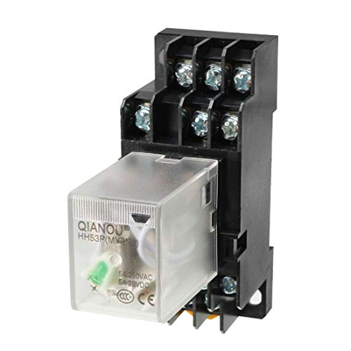 ZCHXD DC48V Coil Green Indicator Light 11 Pin 3P3T Electromagnetic General Purpose Power Relay + Socket Base 11-pin Relay Socket