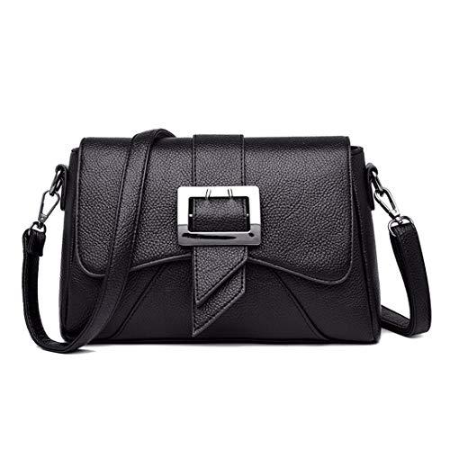 Skyinbags Meine Damen Geneigt Schultertasche Weiches Leder- Mode Freizeit Große Kapazität, Schwarz