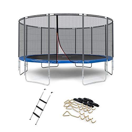 Ampel 24 XXL Outdoor Trampolin 490 cm blau mit verstärktem Netz, Stabilitätsring, gepolsterte Stangen, Leiter & Windsicherung, Belastbarkeit 180 kg