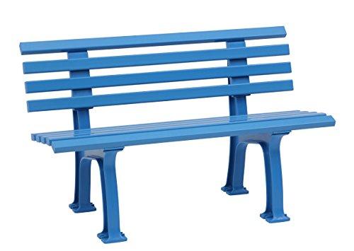 Sitzbank / Gartenbank 2-Sitzer: Ibiza, Länge 120cm, hellblau (hochwertiger Kunststoff, Parkbank Made in Germany)