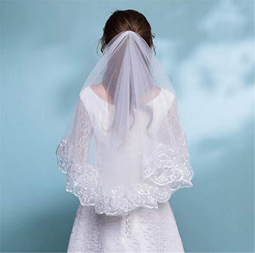 Brautschleier, 2 Tier Braut Stickerei kurzen Absatz Doppelschicht Elbow Veil Tüll Kleid mit Haar Kamm Party Hen Party Zubehör - Kleid-haar-kämme