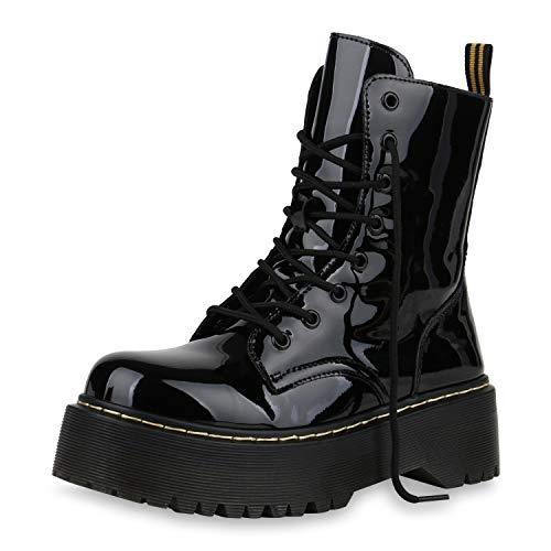 SCARPE VITA Damen Stiefeletten Worker Boots Plateau Stiefel Grunge Punk Schnürboots Outdoor Schuhe Profilsohle Plateauschuhe Schnürer 177127 Schwarz Total ()