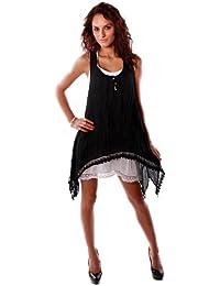 Romantisches Sommerkleid Strandkleid Spitze Einheitsgrösse (34-38) (Schwarz)