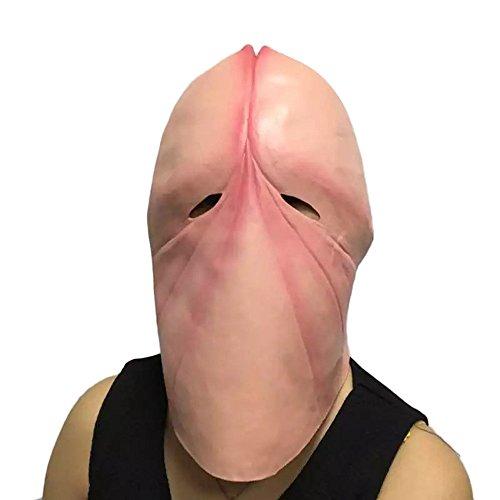 QHJ Halloween Kostüm Party Maske Penis Dick Kopf Latex Maske Streich Party Kostüm Junggesellenabschied Halloween Witz Geschenk Helloween Kostüm Party - Dick Kopf Kostüm