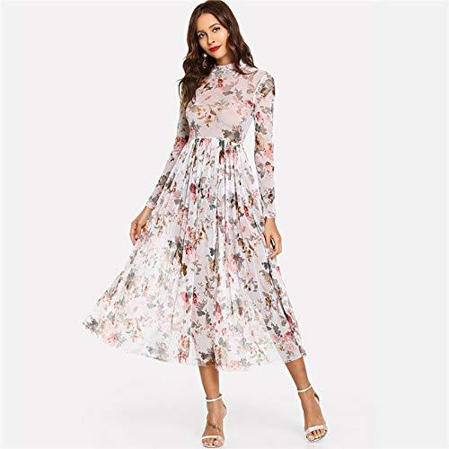JJHR Kleider Multicolor High Street Party Elegante Stehkragen Semi Sheer Plissee Floral A Line Kleid Lady Damen Kleider, Xs Line Sheer