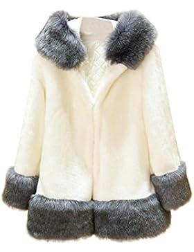 OverDose abrigos de mujer elegantes abrigo con capucha gruesa de piel sintética grande tamaño completo