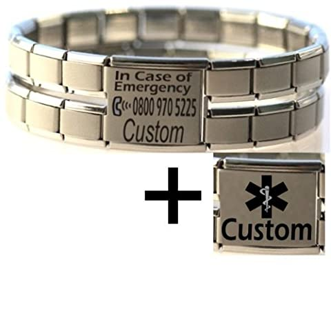 Large Custom Made ICE & Medical Condition ID Alert Stainless