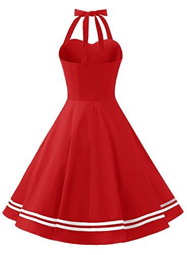 Timormode Rockabilly Kleider Neckholder 50s Vintage Kleid Retro Knielang Kleider Damenkleider Festlich Cocktailkleider 10387 Rot XS - 3
