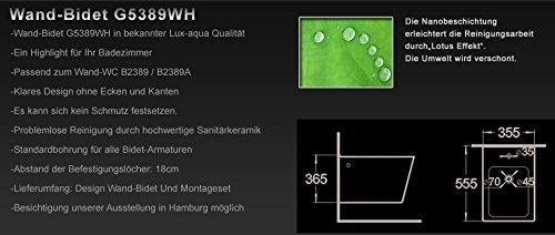 Lux-aqua Wandhängend Bidet Hänge-Bidet mit Nano-Beschichtung G5389-1WH
