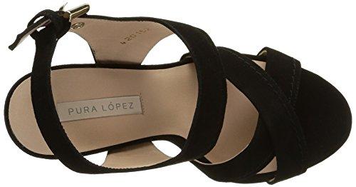 Pura Lopez Ah341 - Sandali Donna Nero (Noir (Velour Noir))