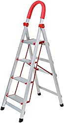 WYJW Folding scale in the form of a 3/4 stage rust guard ladder Herringbone scale for indoor use (size: 4 steps)