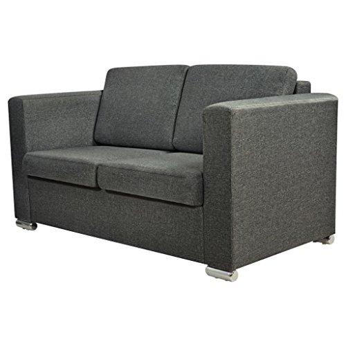 Vidaxl divano a 2 posti divanetto sofa salotto sala in stoffa grigio scuro
