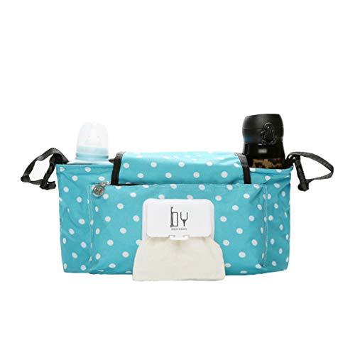 Kinderwagen-Organisator-Tasche, Kinderwagen-Buggy-Organisator für Buggys mit Den Flausch-Bügel-Klipps wasserdicht auf täglicher Verwendungs- (Blauer Punkt)