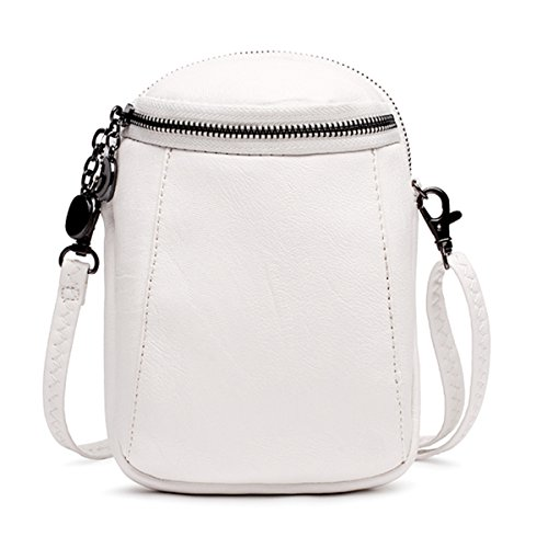 Kleine Umhängetasche Damen, JOSEKO PU Leder Handytasche Brustbeutel Schultertasche Geldbeutel Phone Tasche für Mädchen Weiß