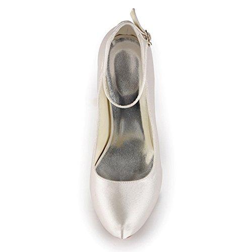 Elegantpark EP11049-IP Inner Plateforme bout ferme Confort Pompes Haut Satin Boucle Chaussures de Mariee Ivoire