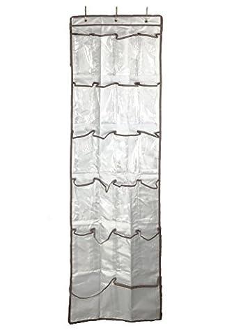 txian 22spacieux poches résistante Armoire de rangement suspendu transparent en vinyle renforcé à suspendre sur la porte rangement à chaussures–Argent