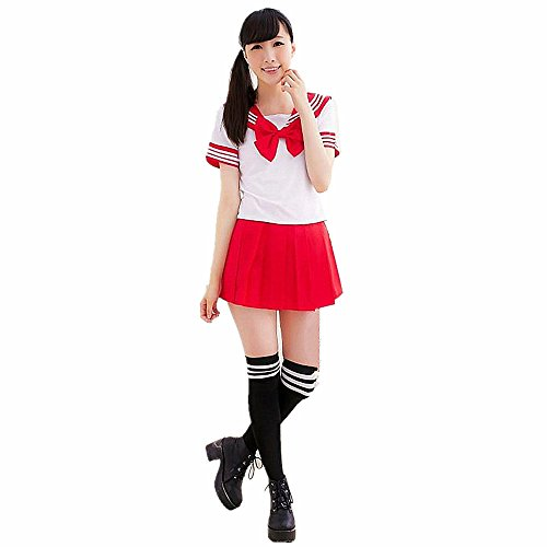Red Girl School Kostüm - JYSPORT School Costume Anime Sailor Cosplay Student Uniform Fancy Dress Japan Outfit (red, L)