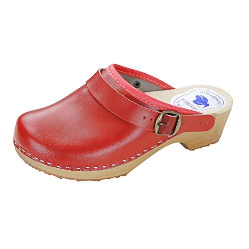 Forfus Damen Holzclogs Leder Pantoletten Geschlossen , Farbe: Rot, Größe: 39